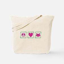 Peace Love Kitties Tote Bag