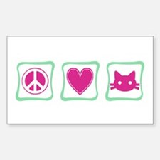 Peace Love Kitties Sticker (Rectangle)