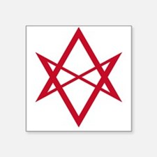 Red Unicursal Hexagram Rectangle Sticker