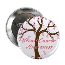 """Breast Cancer Awareness Tree 2.25"""" Button (10 pack"""