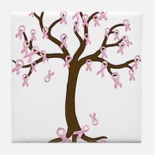 Breast Cancer Tree Tile Coaster