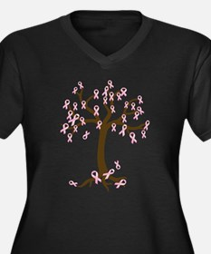 Breast Cancer Tree Women's Plus Size V-Neck Dark T