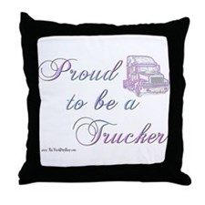Proud to be a Trucker Throw Pillow