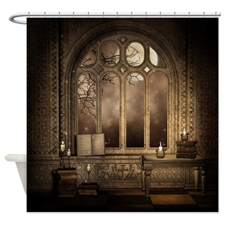 Gothic Library Window Shower Curtain