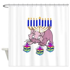 Hanukkah Dreidel Cat Shower Curtain
