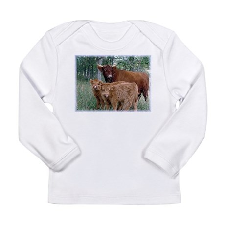 Two highland calves with mama cow Long Sleeve Infa