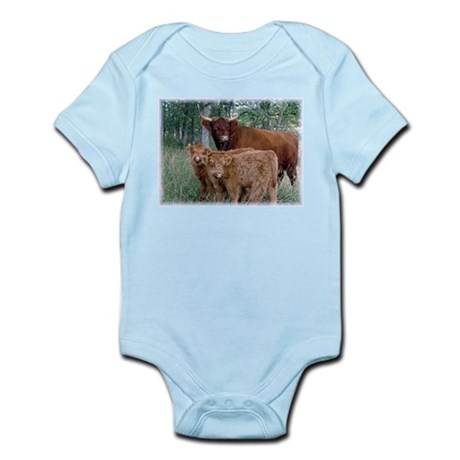 Two highland calves with mama cow Infant Bodysuit
