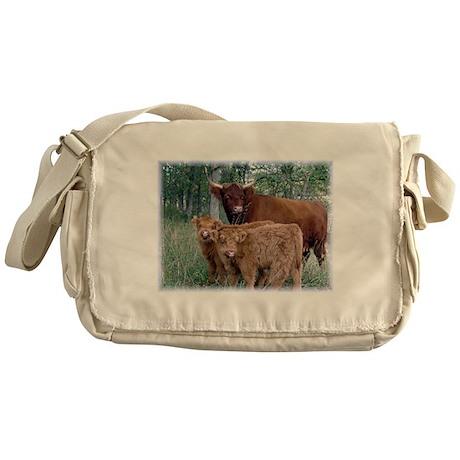 Two highland calves with mama cow Messenger Bag