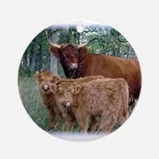 Two highland calves with mama cow Ornament (Round)