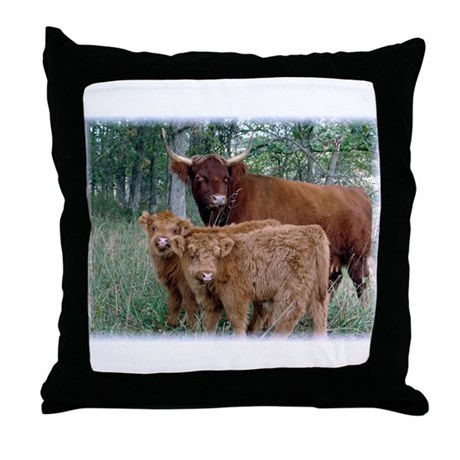 Two highland calves with mama cow Throw Pillow