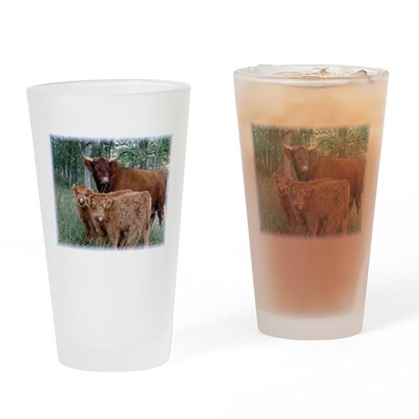 Two highland calves with mama cow Drinking Glass
