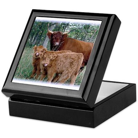 Two highland calves with mama cow Keepsake Box