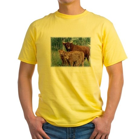Two highland calves with mama cow Yellow T-Shirt