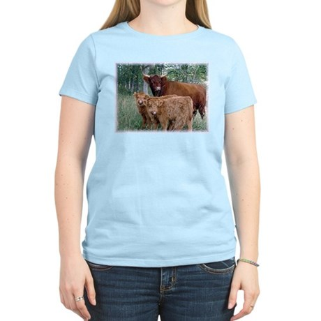 Two highland calves with mama cow Women's Light T-