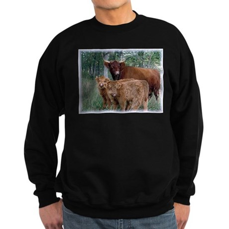 Two highland calves with mama cow Sweatshirt (dark
