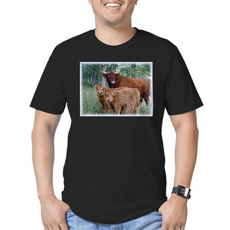 Two highland calves with mama cow Men's Fitted T-S