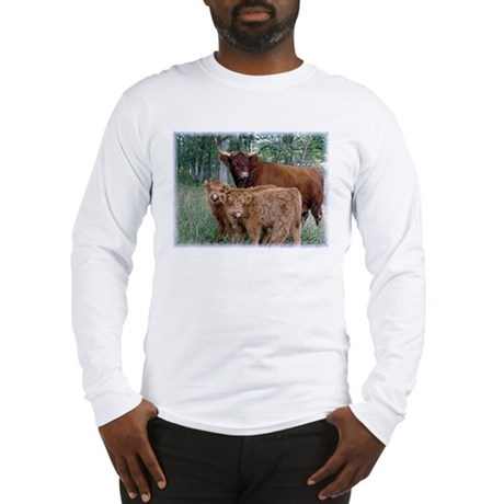Two highland calves with mama cow Long Sleeve T-Sh