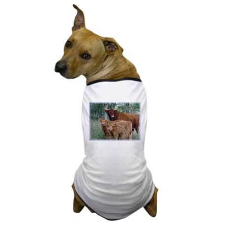 Two highland calves with mama cow Dog T-Shirt