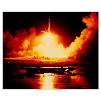 Night launch of Apollo 17 Poster
