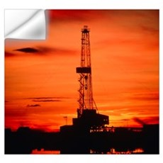 Oil drilling rig, Russia, at sunset Wall Decal