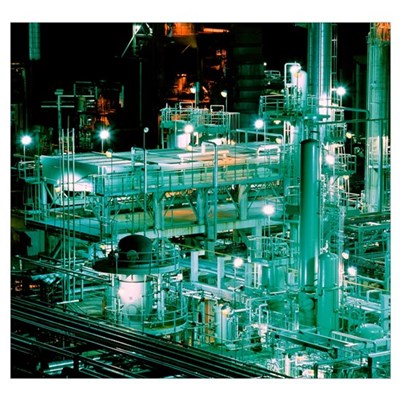 Oil refinery at night Poster