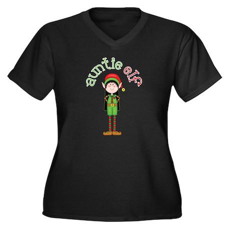 Auntie Christmas Elf Women's Plus Size V-Neck Dark