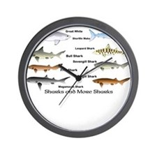 Sharks and More Sharks Montage Wall Clock