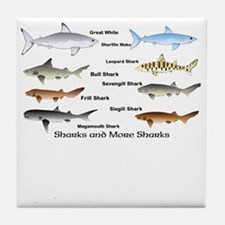 Sharks and More Sharks Montage Tile Coaster