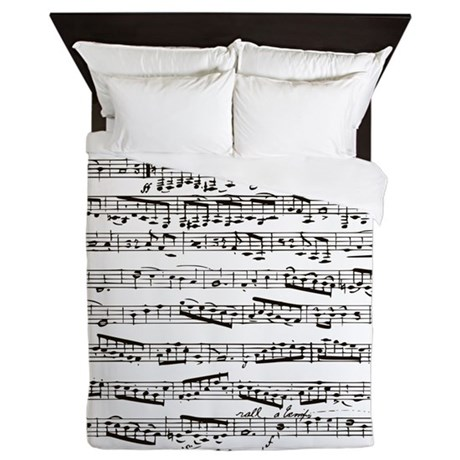 Music notes queen duvet by inspirationzstore - Music notes comforter ...