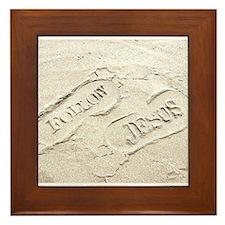 Sandy Footprints Framed Tile