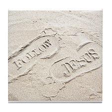 Sandy Footprints Tile Coaster