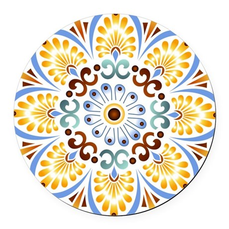 Golden Mandala Round Car Magnet
