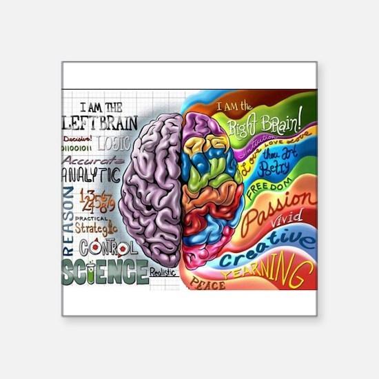 """Left Brain, Right Brain Square Sticker 3"""" x 3"""""""