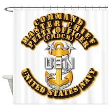 Navy - Rank - CMDCM Shower Curtain