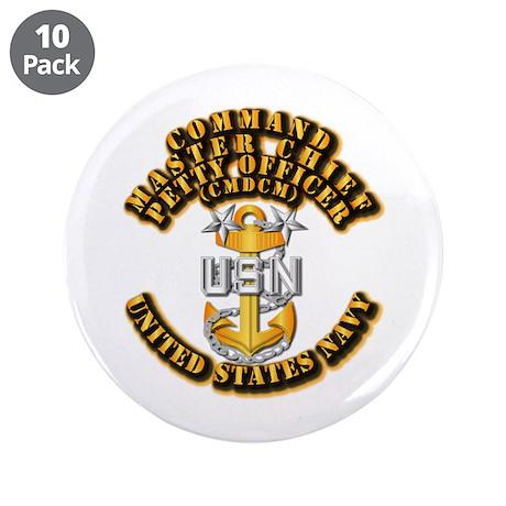 """Navy - Rank - CMDCM 3.5"""" Button (10 pack)"""