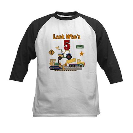 Construction 5th Birthday Kids Baseball Jersey