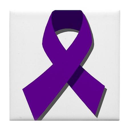 Purple Ribbon Tile Coaster