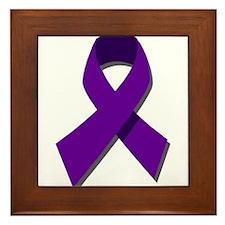 Purple Ribbon Framed Tile