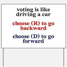 Democrat Voting/Driving Yard Sign