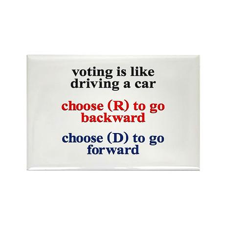 Democrat Voting/Driving Rectangle Magnet