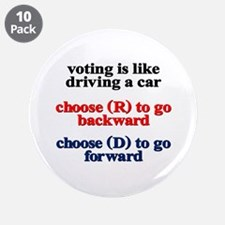 "Democrat Voting/Driving 3.5"" Button (10 pack)"