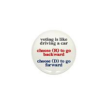 Democrat Voting/Driving Mini Button (10 pack)