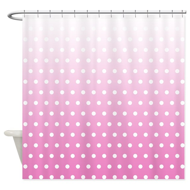 Pink And White Polka Dot Fade Shower Curtain By