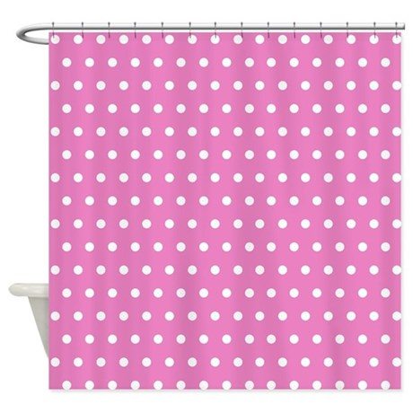 Pink And White Polka Dot Shower Curtain By Creativeconceptz