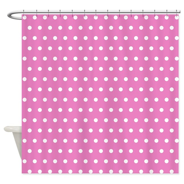 pink and white polka dot shower curtain by creativeconceptz. Black Bedroom Furniture Sets. Home Design Ideas