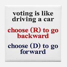 Democrat Voting/Driving Tile Coaster