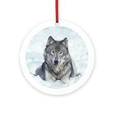 Gray Wolf Ornament (Round)