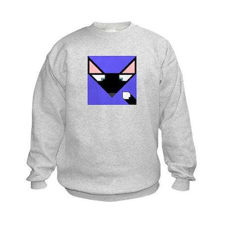 Cubist Black Fox Head and Tail Kids Sweatshirt