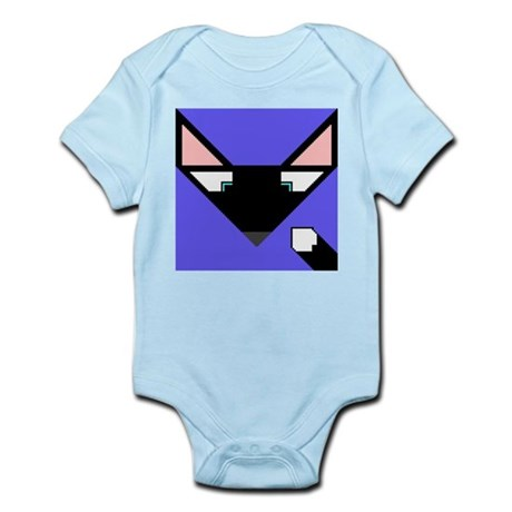 Cubist Black Fox Head and Tail Infant Bodysuit