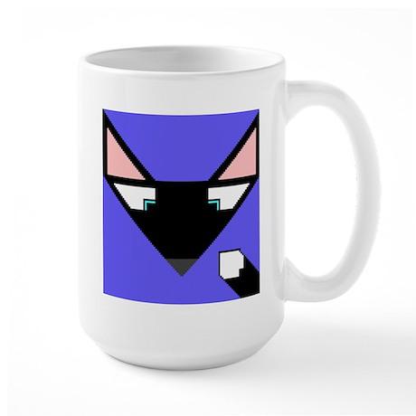 Cubist Black Fox Head and Tail Large Mug
